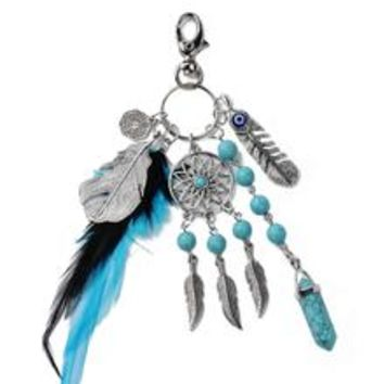1pc Turquoise and Silver Natural Boho Feather Leaf Dreamcatcher Keychain