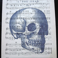 Skull with Writing Art Print on Vintage Music Sheet
