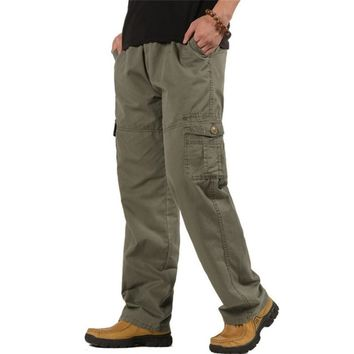 5XL 6XL Plus Size Men's Cargo Pants Casual Loose Army Military Combat Tactical Trousers Spring Autumn Baggy Multi-Pocket Pants