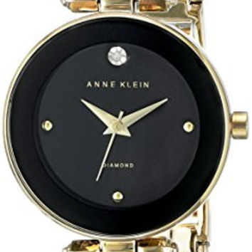 Anne Klein Women's AK/1980BKGB Diamond-Accented Dial Black and Gold-Tone Bangle Watch