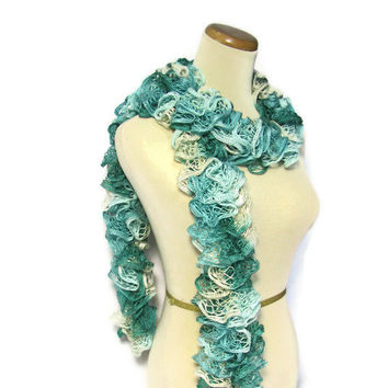 Hand Knit Ruffled Scarf Green Aqua Gray by ArlenesBoutique on Etsy