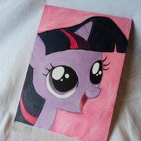 "Cute Filly Twilight Sparkle Art Painting Flat Canvas 9"" x 12"""
