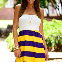 The Kickoff Dress, Purple/Gold