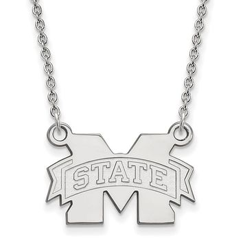 NCAA 14k White Gold Mississippi State Small 'M' State Pendant Necklace