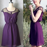 PETIT DEJEUNER AUBERGINE- Deep plum purple vintage inspired chiffon dress // bridesmaid // cocktail // holiday // day // plum // lace