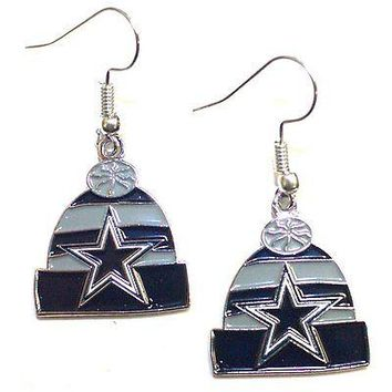 NFL Officially Licensed Dallas Cowboys Beanie Style Dangle Earrings