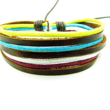 Real 3PCS Leathers Cotton Ropes Woven Cuff Bracelet , Women Leather Bracelet, Ropes Bracelet 1231A