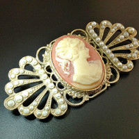 Art Deco Cameo Brooch, Vintage Celluloid, Seed Pearls