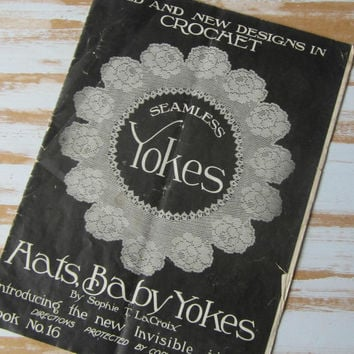 Vintage 1920s Crochet Hats & Baby Yokes Patterns Booklet Crochet for Corsets Camisoles Nightgowns Bridal Sets