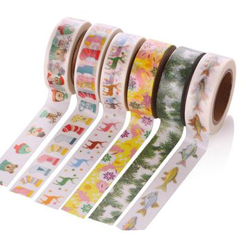1 Pcs 1.5cm x 10m Merry Christmas Deer Washi Paper Masking Tapes Decorative Tape Scrapbooking Stickers Diary Decals Decors