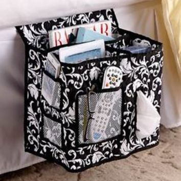 Damask Quilted Bed Storage Caddie Organizer Holds Phone Glasses Remote Books