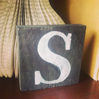 Freestanding Black and White Hand Painted Wooden Letter Sign