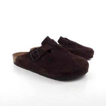 Birkenstock Sandals Vintage 1990s Suede Brown Clogs Boston size 42