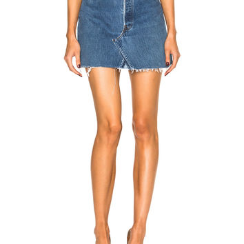 RE/DONE Levi's High Rise Mini Skirt in Blue | FWRD
