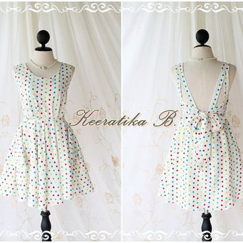 A Party V Dress - White / Colorful Polka Dot Print All Over Backless Party Cocktail Prom Bridesmaid Dinner Bridal Shower Anniversary Dress