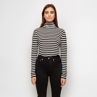 Cashmere Jersey Stripe Turtleneck - Ivory/Black