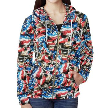 American Barbwire Skulls Women's All Over Print Full Zip Hoodie