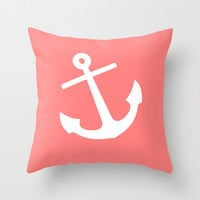 Coral Anchor Throw Pillow by M Studio