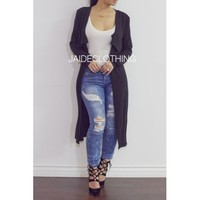 BLACK Allyson Long Cardigan - Jaide Clothing