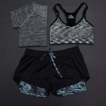 Fashion 3pcs Women's Sports Bras Yoga Fitness Racerback Vest Shorts Set 14