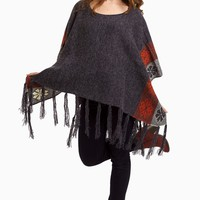Charcoal-Rust-Printed-Knit-Fringe-Trim-Poncho