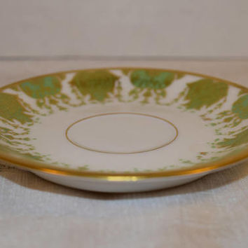 La Seynie Limoges P & P Saucer Vintage French Antique Green Gold Saucer Early 20th Century China Elegant Dinnerware Replacement China