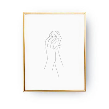 Feminine Hands Print, Female Body, Black And White, Sketch Art, Single Line, Minimalist Woman Print, Minimal Art, Simple Fashion, Woman Art