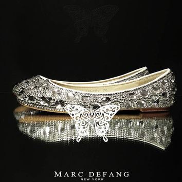 NEW Luxury Non Casing Clear Crystal Diamond Frost Bridal Flats