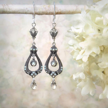 Stardust - Pearl Crystal Silver Earrings, Vintage Antique Style, Bride Bridal Bridesmaid, Moonlight Wedding, Bohemian Boho, Gypsy, Edwardian