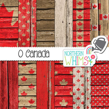 Canada Wood Digital Paper - maple leaf and flag patterns in red & white on wood texture backgrounds - wood scrapbook paper - commercial use