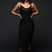 Black Velvet Midi Dress with Gold Colored Star Print and Lace Details