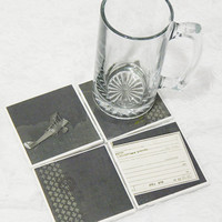 Tile Coasters in Airplane/Travel Postcard Theme with Foam Backs (4)
