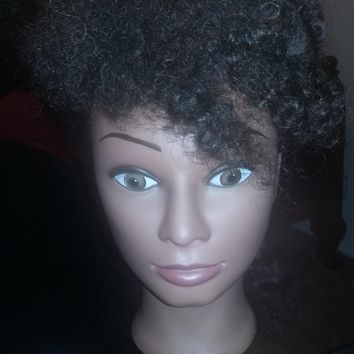 (Rj) Afro 10 Inches Budget Cosmetology Ethnic Human Hair Manikin,come with clamp
