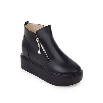 Ankle Boots for Women Platform Wedges Double Zipper Pu Leather Autumn Winter Shoes Wom