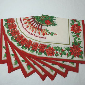 Set of 8, 1980s Vintage Christmas Dinner Napkins with Poinsettias & Tree, Red, Green, Gold, Ivory, Poly Cotton, Vintage Christmas Linens