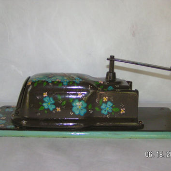 Vintage Hand-painted Cast Iron Coffee Mill