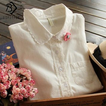 White Blouse Button Up Lace Crochet Turn Down Collar Long Sleeve Cotton Top Shirt with Pocket Size S-XL women Clothes T58324
