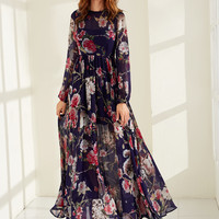 Navy Rose Print High Waist Dress