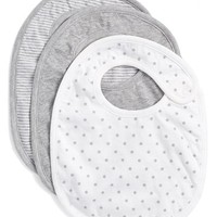 Infant Nordstrom Baby Snap Bibs - Grey (3-Pack)