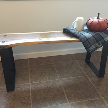 Live Edge Bench, Walnut Bench, Rustic Bench, Window Seat