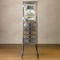 Pharmacy Large Bath Cabinet with Drawers Brushed Steel | Storage  Furniture | Restoration Hardware