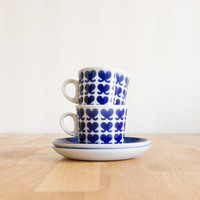 Finnish Design Arabia Finland Blue Set of 2 Cups & Saucers