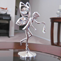 Swarovski Element Fairy Figurine with Clear Octagon and Drop Prisms Silver Plated