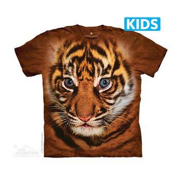 Big Face Sumatran Tiger Cub Kids T-Shirt