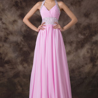 Pink Halter V-neckBeaded Empire Waist Chiffon Maxi Dress