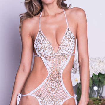 DOLCE CROCHET MONOKINI IN WHITE WITH GOLD