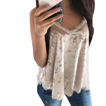 Women's Stylish Classic True Velvet Flared Camisole Tank Top With Lace Trim