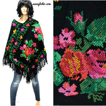 Vintage 70s Mexican poncho boho fringed cross-stitched 1970s knit bright floral cape fringe hippie poncho SunnyBohoVintage