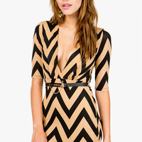 Zig Zag Deep Cut Belted Mini Dress