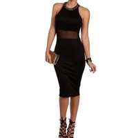 Black Mesh Racer Midi Dress